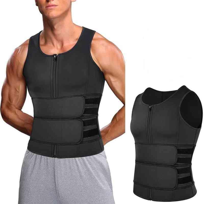 Men Body Shaper Waist Trainer Double Belt Sweat Shirt Corset, Fat Burn Fitness Top