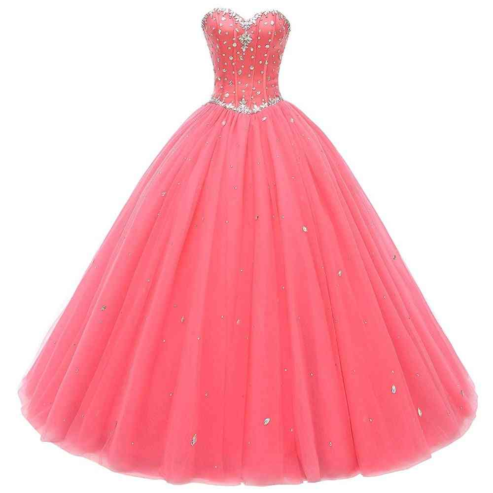 Crystal Beads Debutante Ball Gown Prom Dress