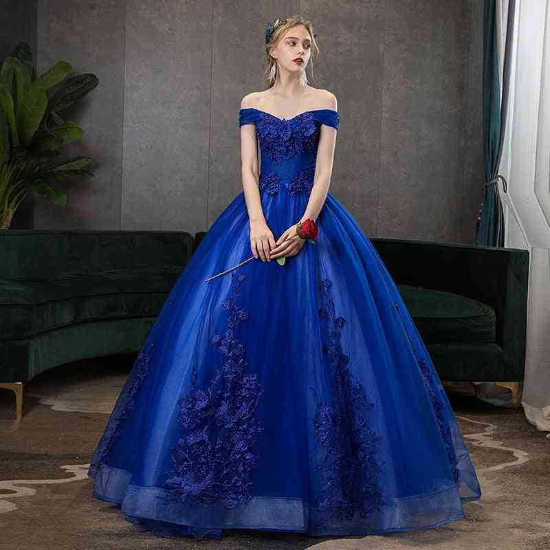 V-neck Ball Gown, Vintage Lace Embroidery Dress