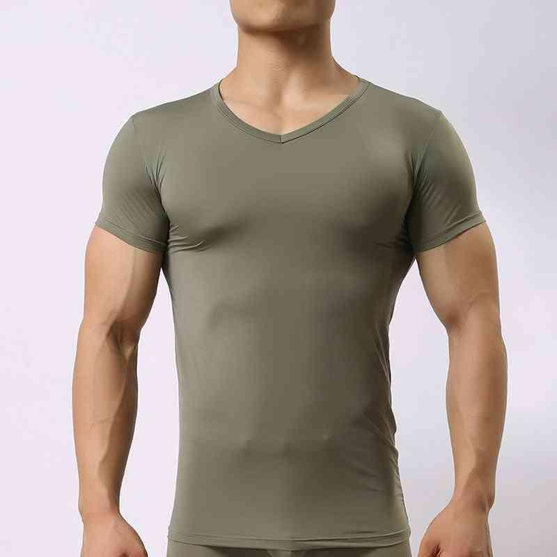 Men's Sheer Undershirts, Male Ice Silk Mesh See Through Basics Shirts