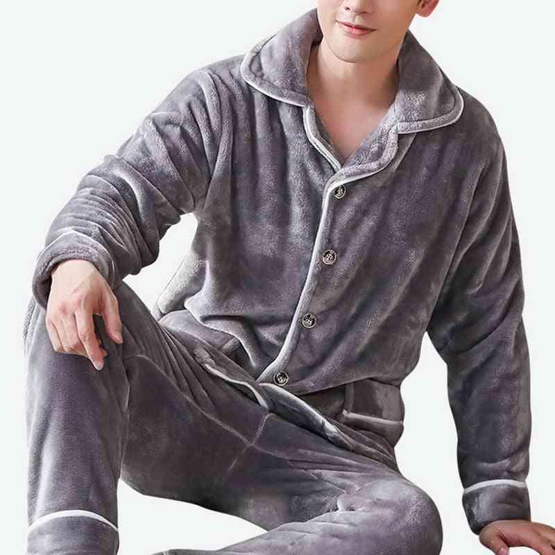 Thick Warm, Flannel Long Sleeve, Coral Velvet, Sleepwear Suit, Pajama Sets