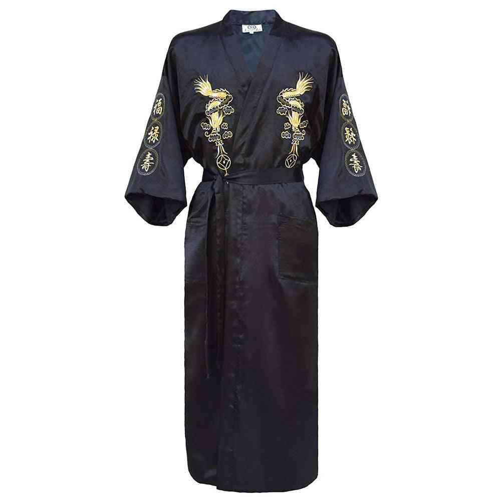 Embroidery Dragon Robe, Traditional Sleepwear, Loose Nightwear Gown