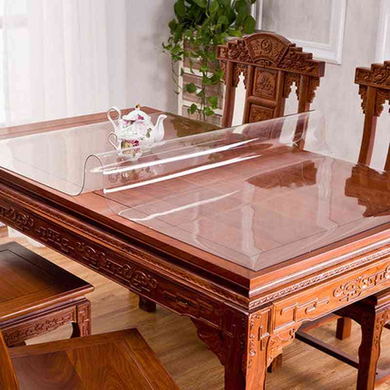Transparent Table Cushion, Kitchen Pattern, Linoleum Glass, Soft Tablecloth Cover
