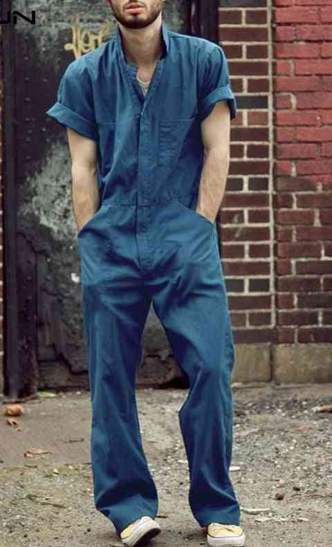 Fashion Men Short Sleeve Loose Cargo Overalls Jumpsuits