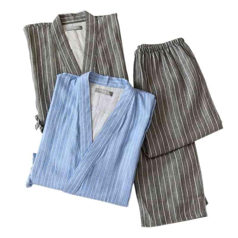Gauze Cotton Men Pajamas Sets, Simple Short Sleeve Trousers Bathrobes