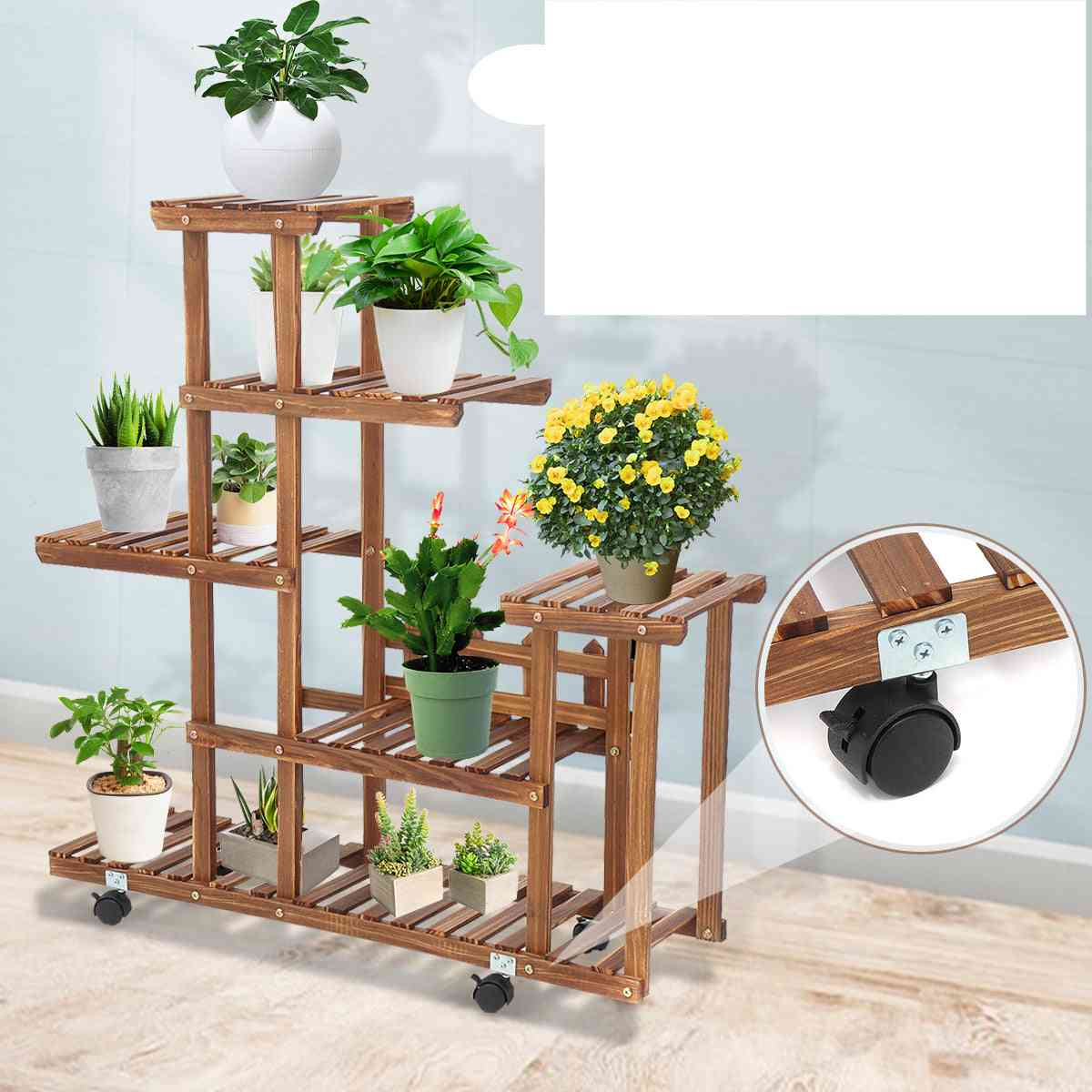5 Tiers Wooden Flower Rack Plant Stand Multi Flower Stand Shelves & Display Shelf/flower Stands