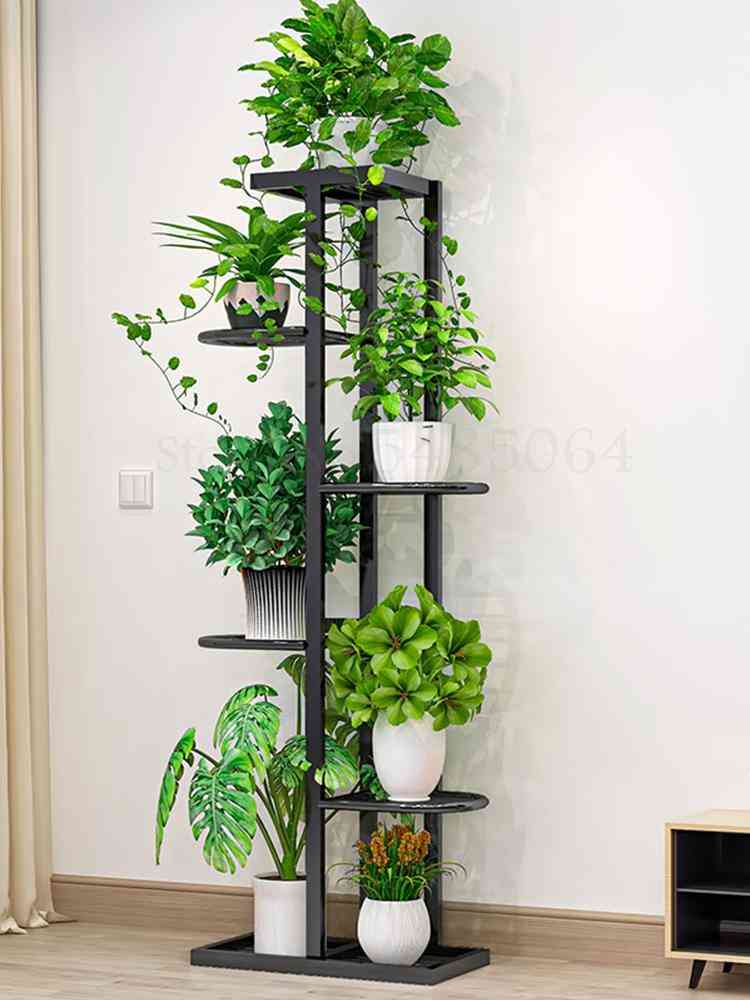 Multilayer Rack Green Dill & Flower Shelf Nordic Indoor Home Balcony Decoration Rack And Wrought Iron Simple Flower Pot