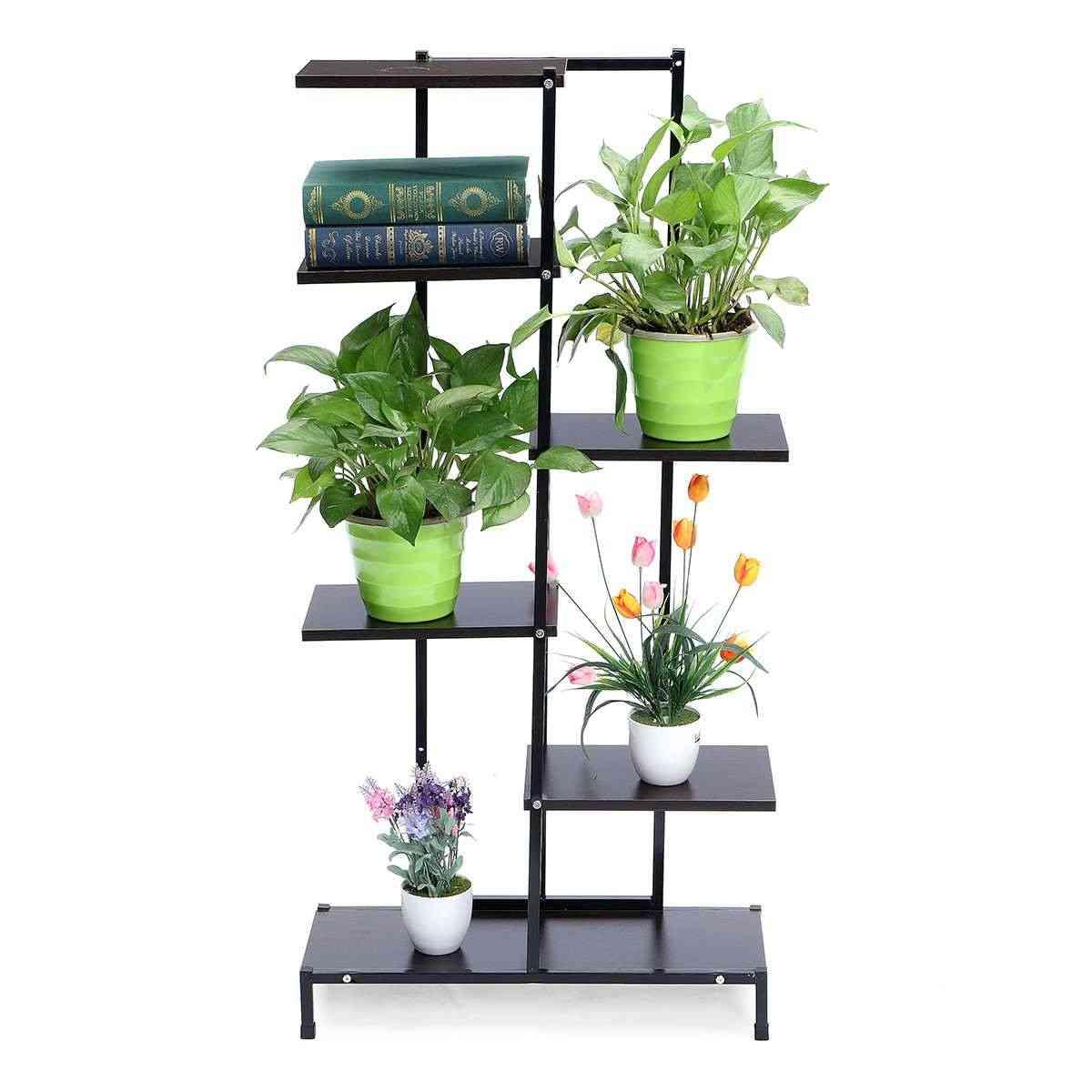 5 Tiers Wooden/iron Bookshelf & Plant Rack Display Shelf Home Yard/garden Patio Balcony Flower Stands