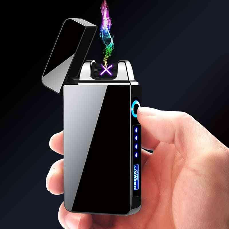 Electric Metal Windproof, Dual-arc Lighter Plasma & Rechargeable Usb, Cigarette Lighter