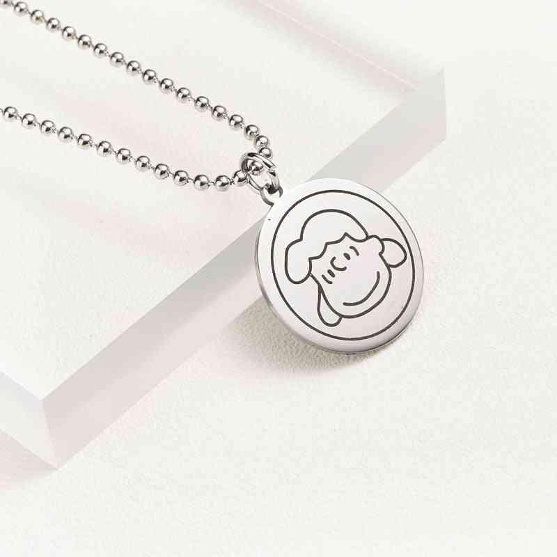Titanium Steel- Cartoon Head, Necklace Pendant Key
