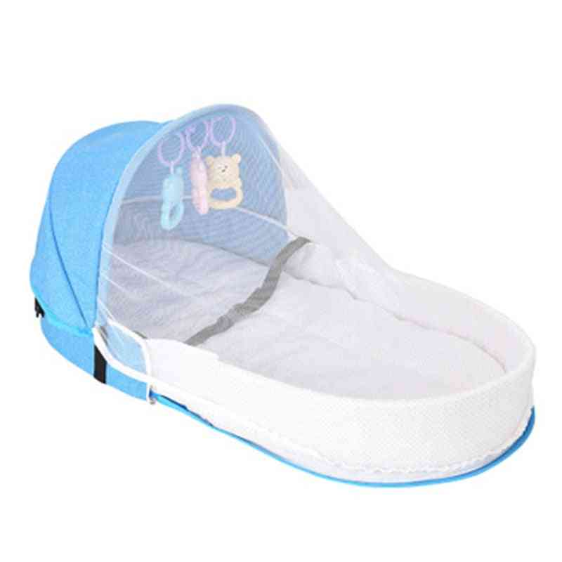 Foldable Crib, Sun Protection Mosquito Net, Sleeping Basket With Baby