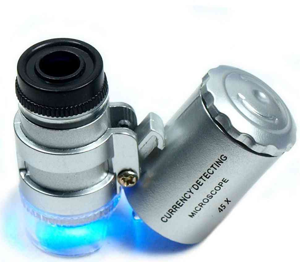 Magnifier Microscope Magnifying Pocket Led & Uv Light, 2 X Mini 45 X Jewelers Loupe