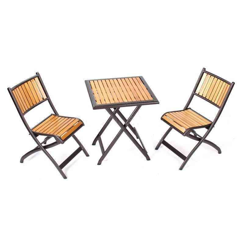 Outdoor Folding Courtyard Solid Wood, Coffee Table & Chairs Set
