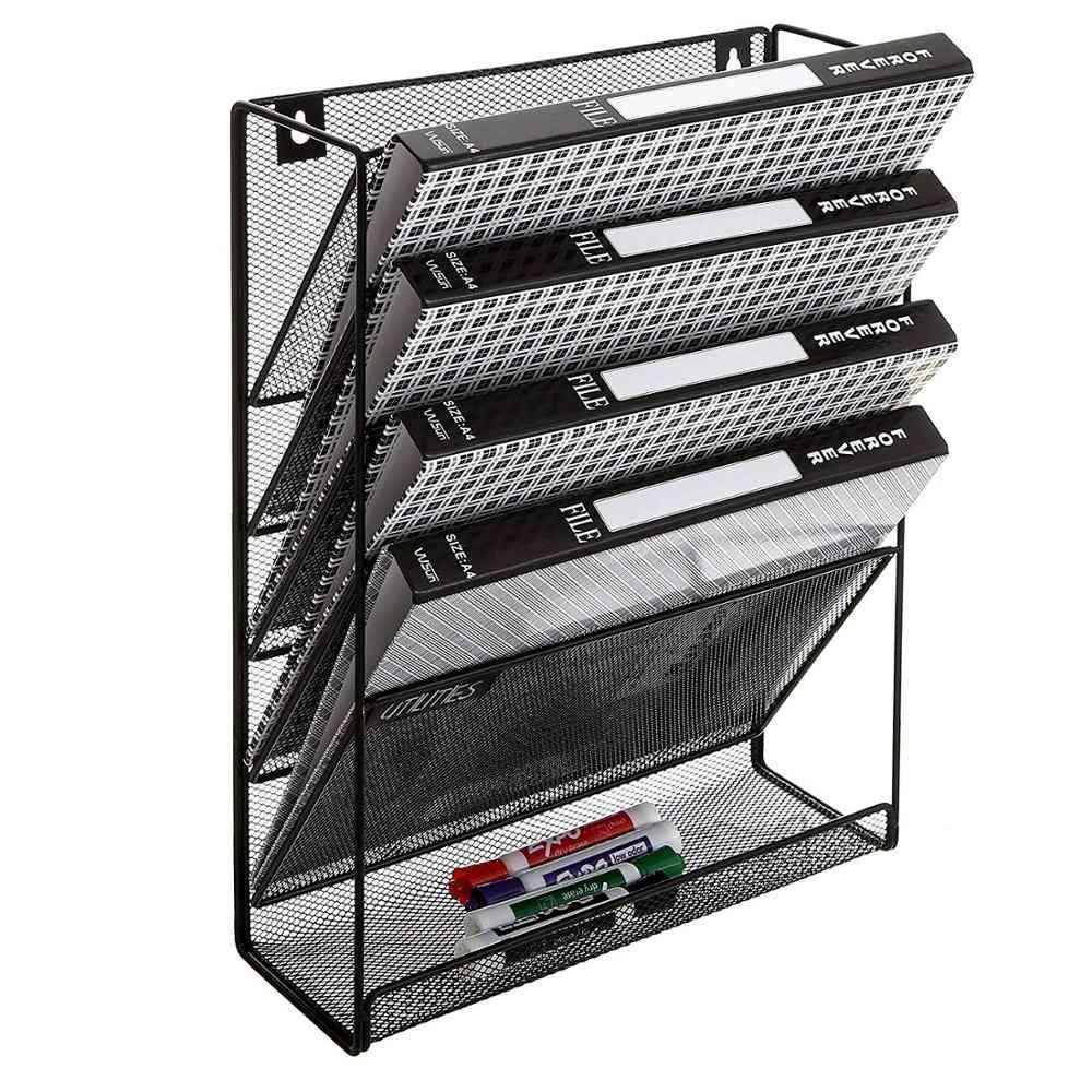 6-slot Wall-mounted, Black Metal, Document Box, Magazine Rack