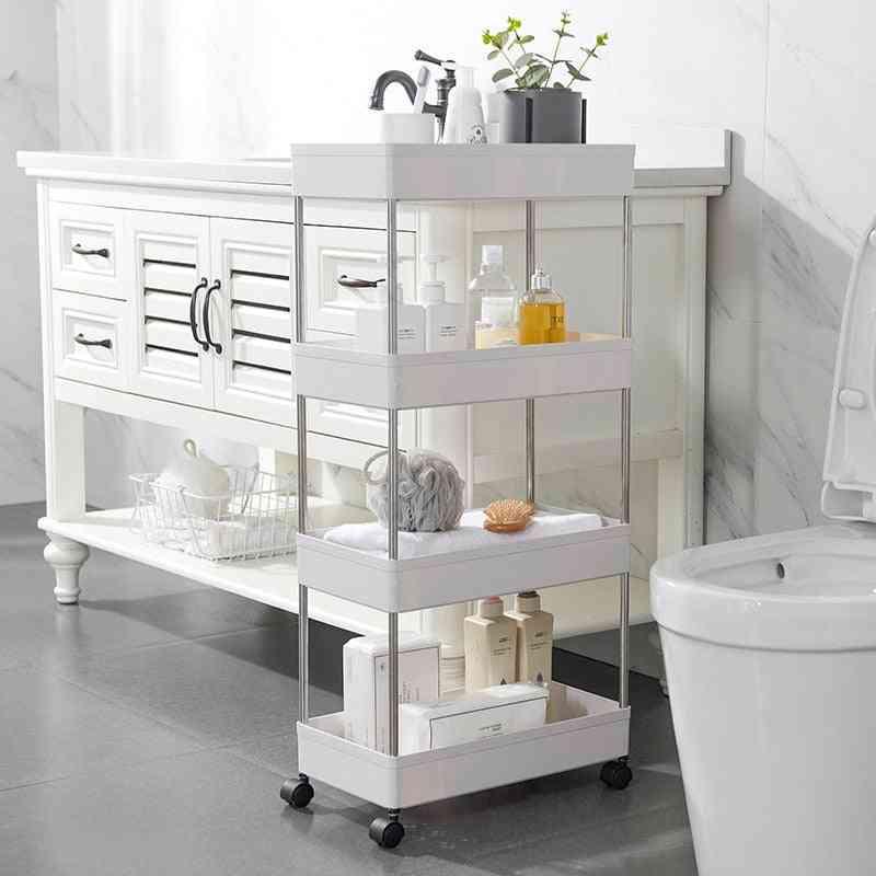 4 Layers Narrow Cabinet Multifunctional Foor-standing Shelf / Storage Rack