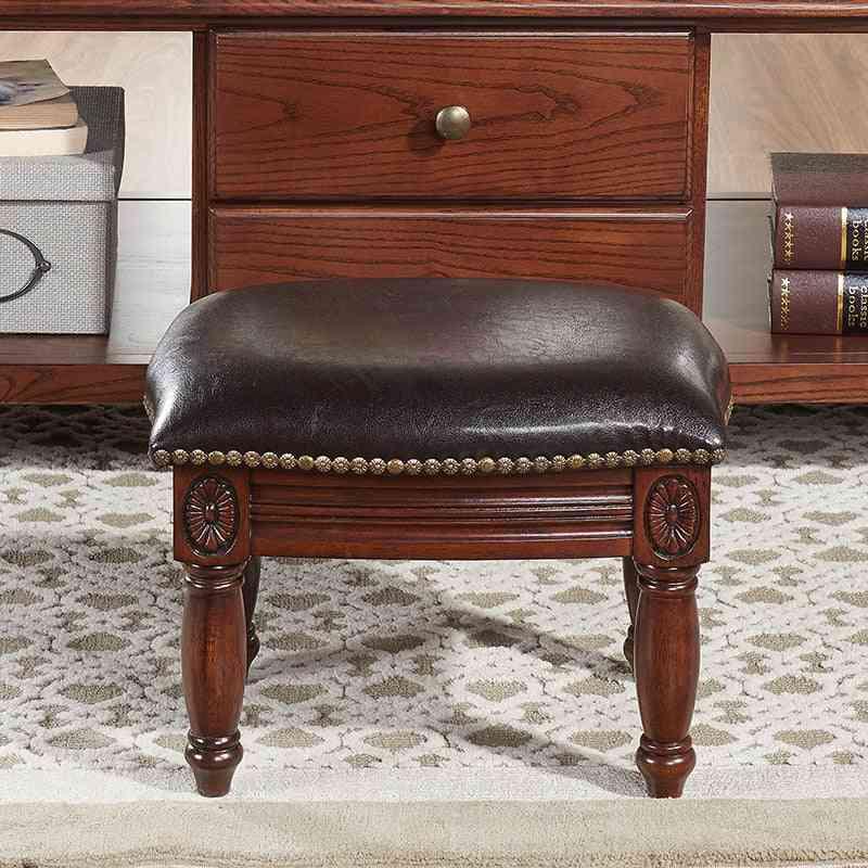 Solid Wood Leather Sofa Stool