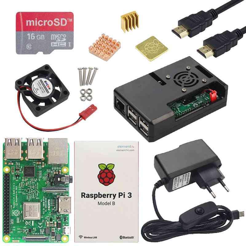 Pi 3 Model B Plus Board, Abs Case & Power Supply Mini Pc Pi 3b