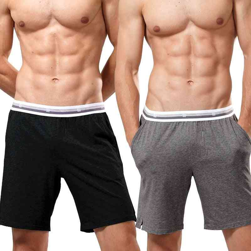 Men Cotton Breathable Pants With Pockets, Comfortable Sleepwear Shorts