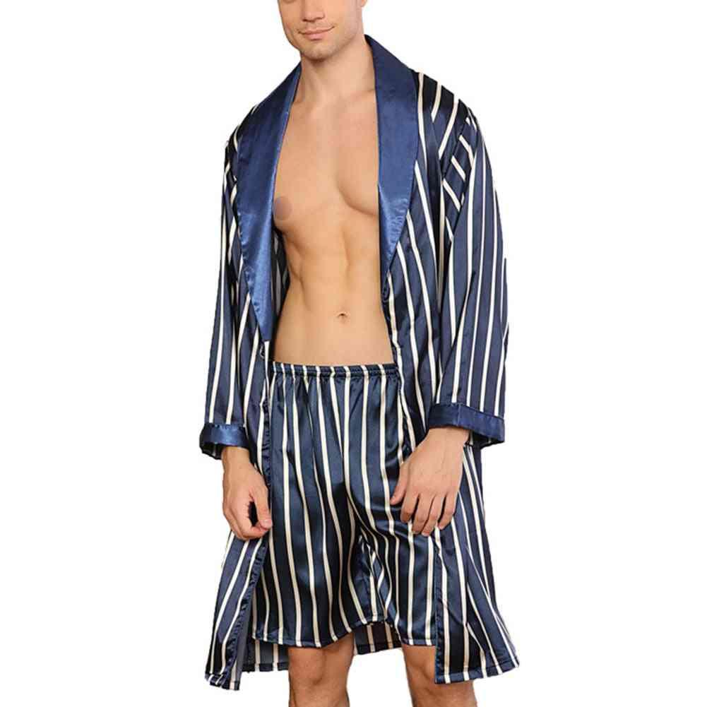 Men's Casual Silk Satin Pajamas Set Sleepwear