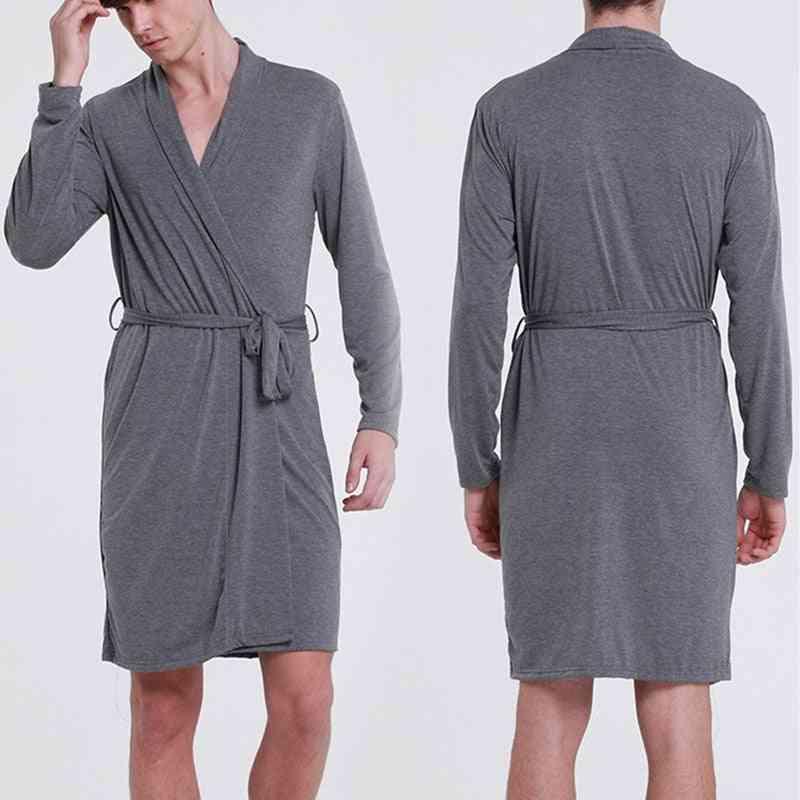 Men's Modal Nightgown, Bathrobe Night Shirt Loungewear Pyjamas