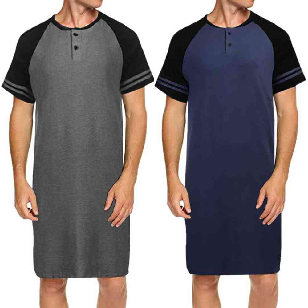Men Sleepwear Long Nightshirt Short Sleeve, Loose Shirt