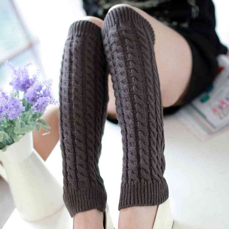 Winter Warm- Knee High Knit, Crochet Leg Warmer, Cuffs Long Socks