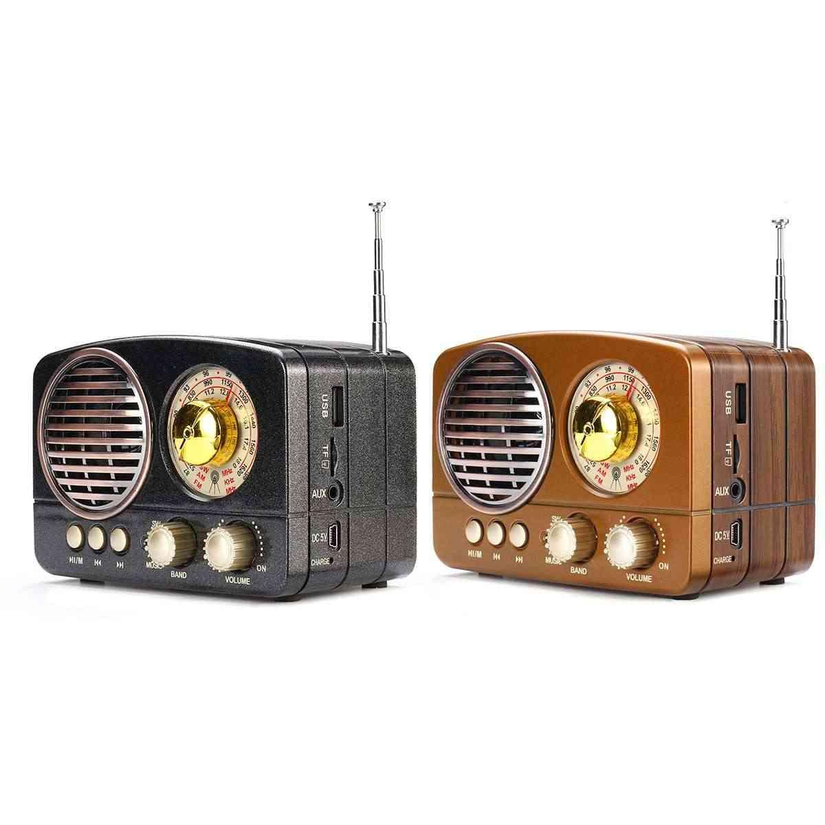 Portable Retro Radio Handheld Receiver Am Fm Sw+bluetooth Speaker Phone Music Player