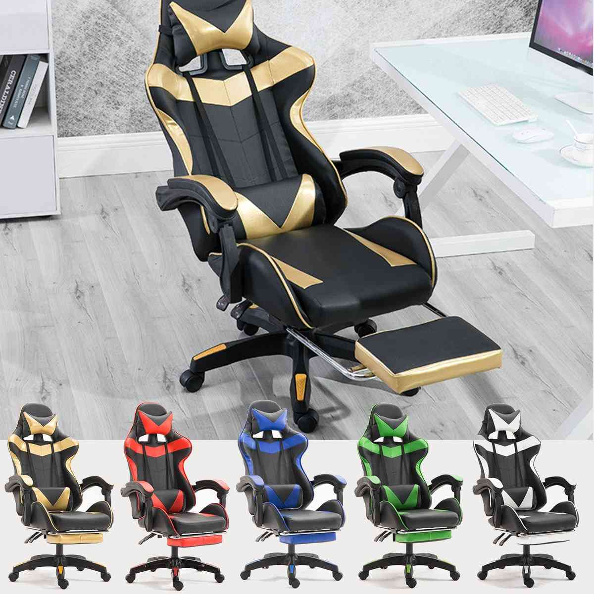 Leather High Back Ergonomic Recliner With Footrest Professional Computer Chair