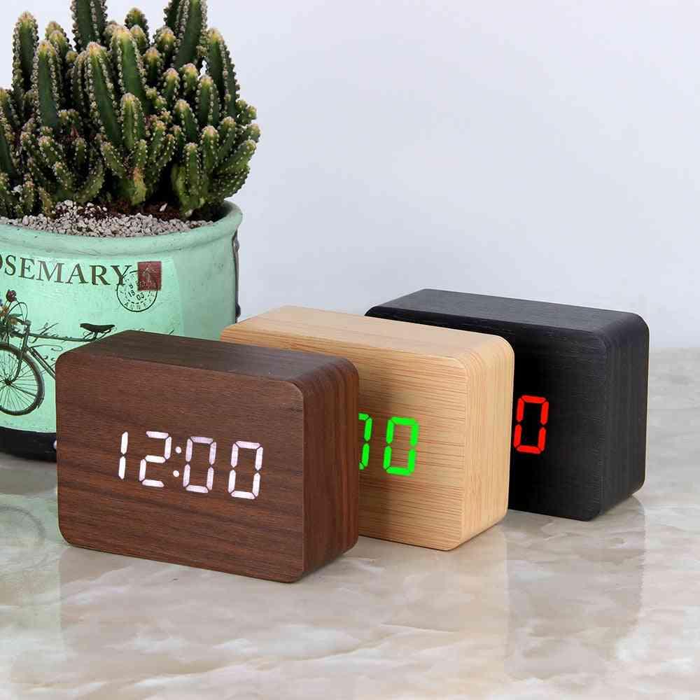 Led Wooden Digital Alarm, Desktop, Table Clocks - Electronic Voice Control, Temperature Display