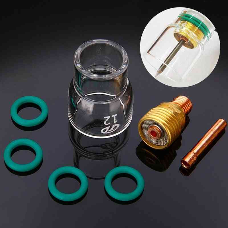 Pyrex Glass Cups Kit Stubby Collets Body Gas Lens Tig Welding Torch (2.4mm)