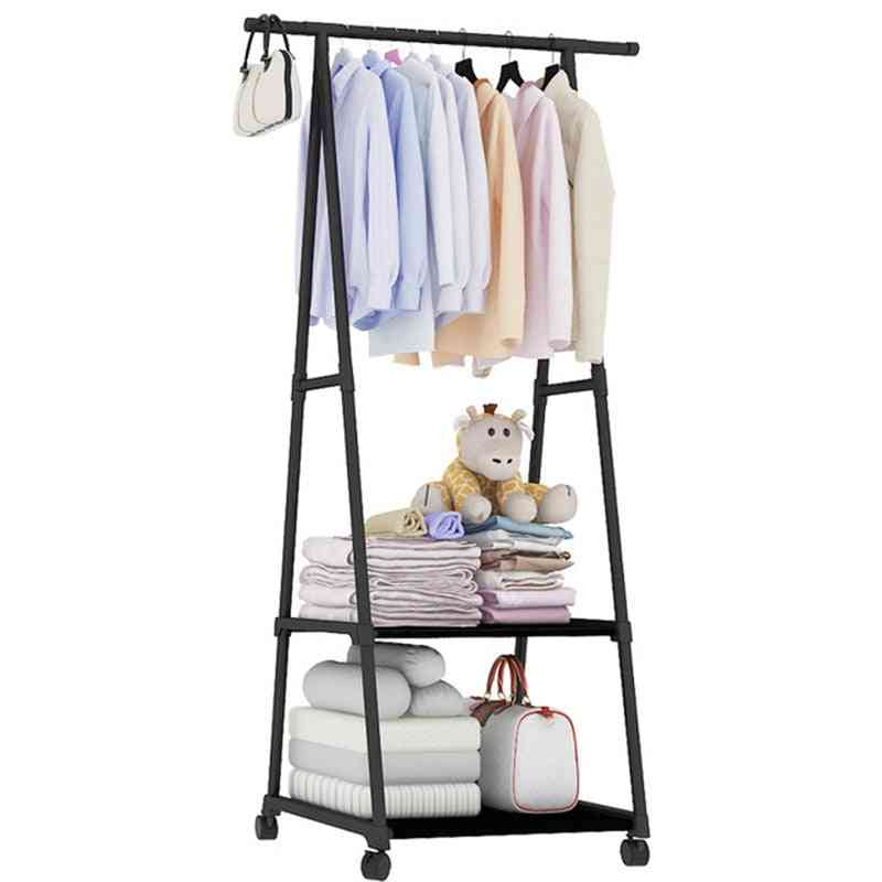 Removable Clothes Hanger & Floor Stand Coat Rack With Wheels, Hanging Clothes Storage Rack/shelf