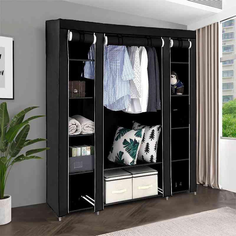 Portable Fabric Closet Large Capacity Non-woven Wardrobe Folding Cloth Storage (175x150x45cm)