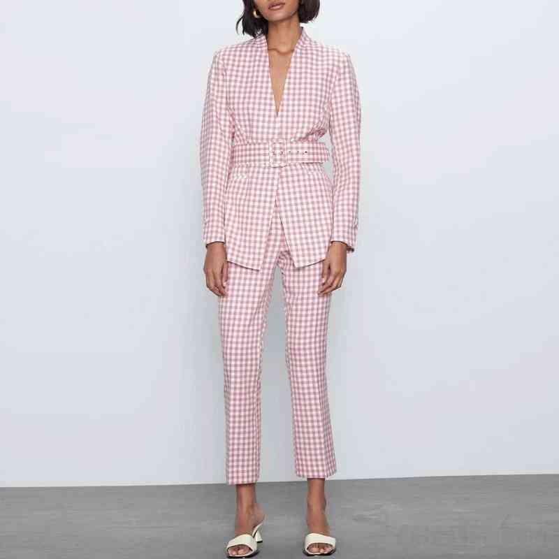 Women Vintage Plaid, V-neck, Belt Blazer Coat+flares Trousers Pant