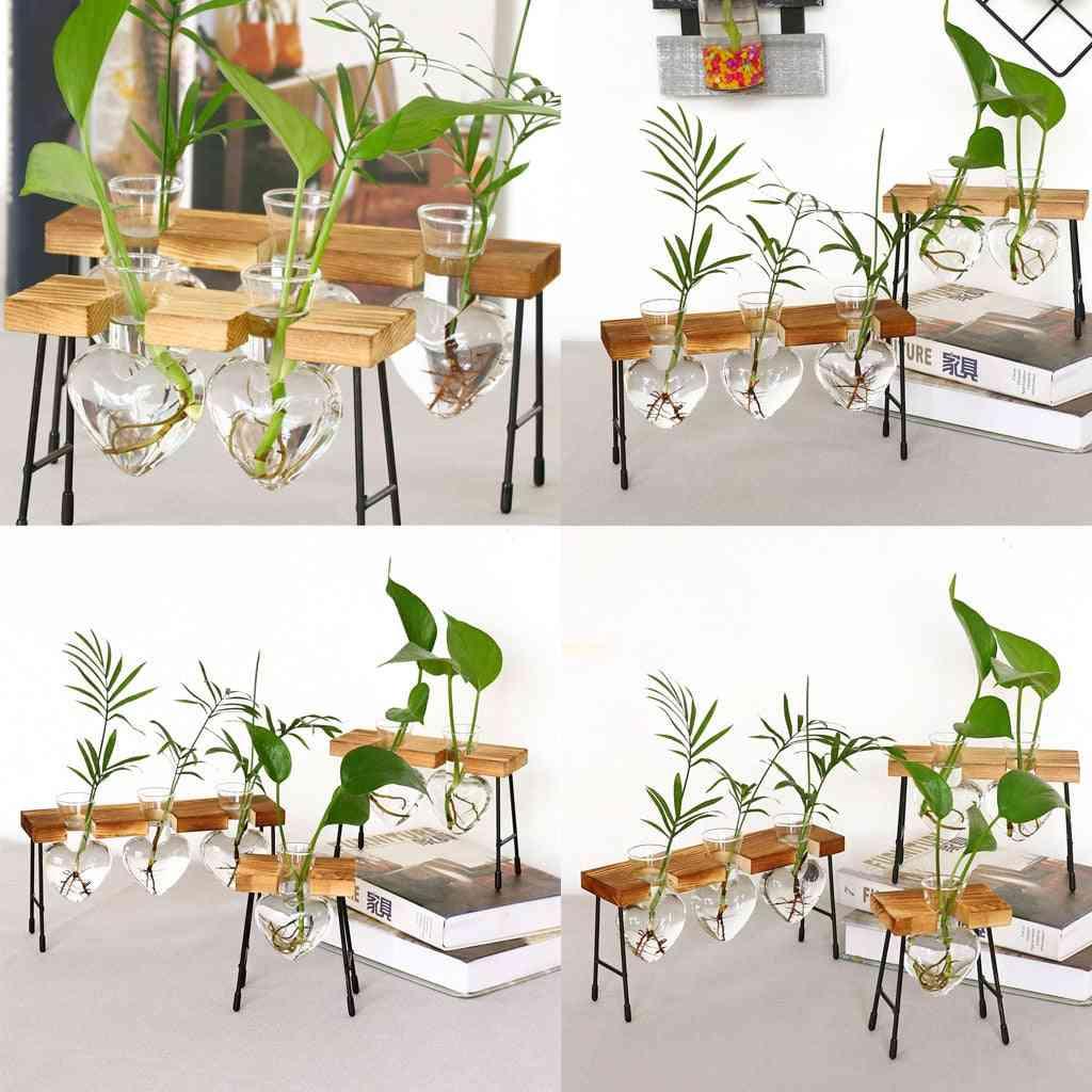 Terrarium Creative Hydroponic Plant Transparent Vase Wooden Frame Vase Decoration