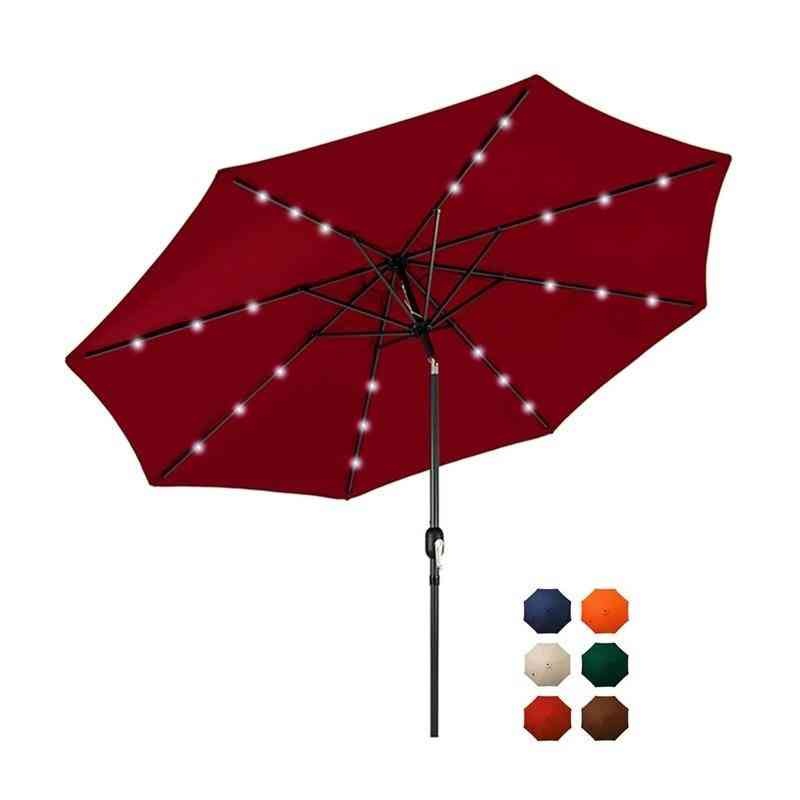 10 Ft Solar Powered Led Lighted Patio Umbrella Adjustment And Fade-resistant