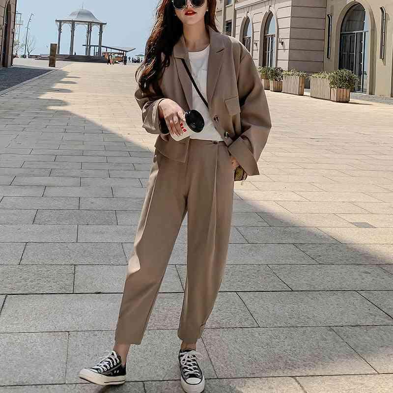 Female Korean Fashion Loose Blazer + Suits Pant