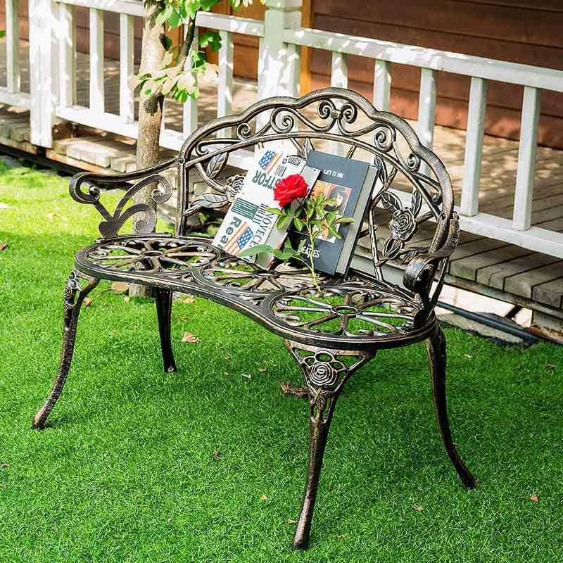 Love Cast Aluminum Leisure Chair, Park, Yard Bench Garden Seat For Furniture Decoration