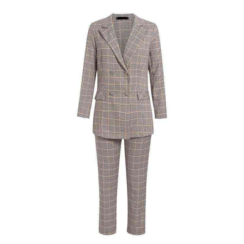 Women Business, Double Breasted Plaid Pant Suits