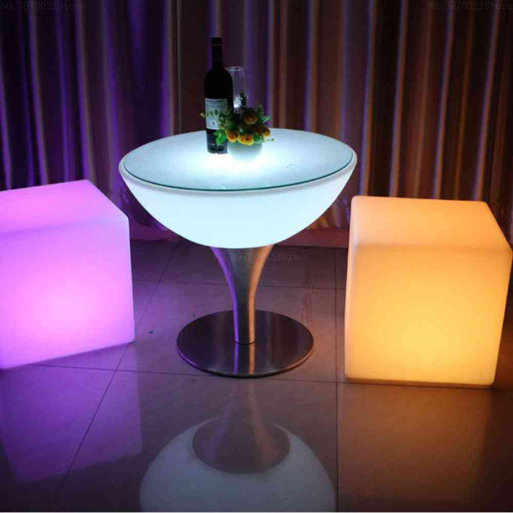 Led Bar Stool Luminous Cube Outdoor Luminous Furniture Creative Remote Changing Side Stool (20x20cm 1 Ps)