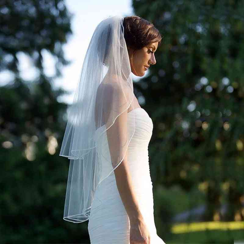 Two Layer Veil With Comb, Soft Tulle Short Woman Bridal Veils
