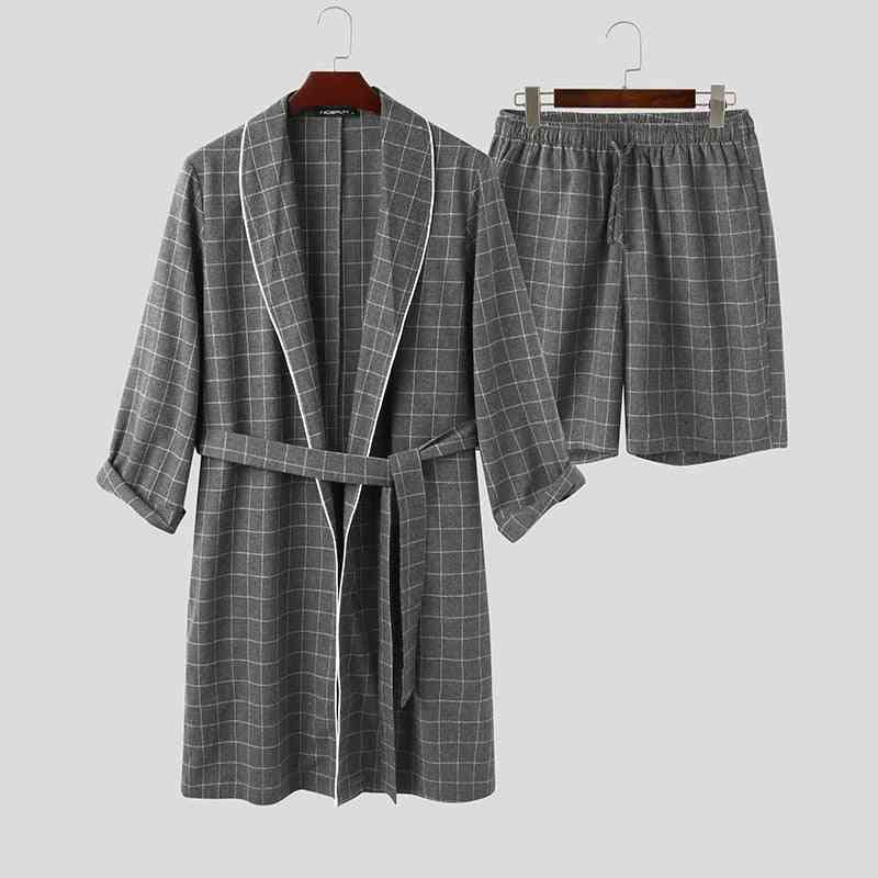 Plaid Men Robes Sets, Long Sleeve, Lapel Bathrobes & Shorts, Homewear  Nightgown Suits