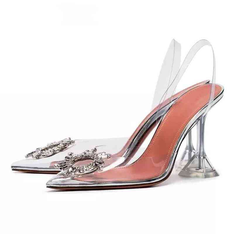 Pvc Pointed, Clear Crystal Cup, High-heel Stilettos, Pumps Toe Sandals
