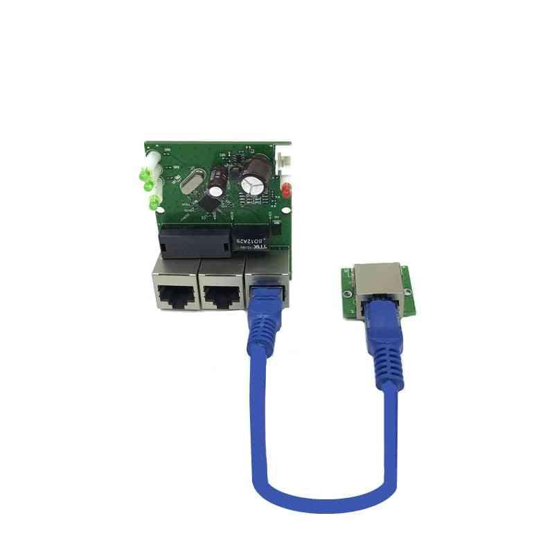Mini Fast 10/100mbps, 3-port, Ethernet Network Lan Hub Switch Board Two-layer Pcb
