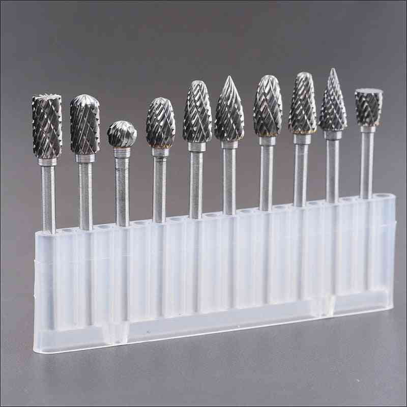 10pcs Tungsten Steel Grinding Carbide Burrs Rotary Tool Set