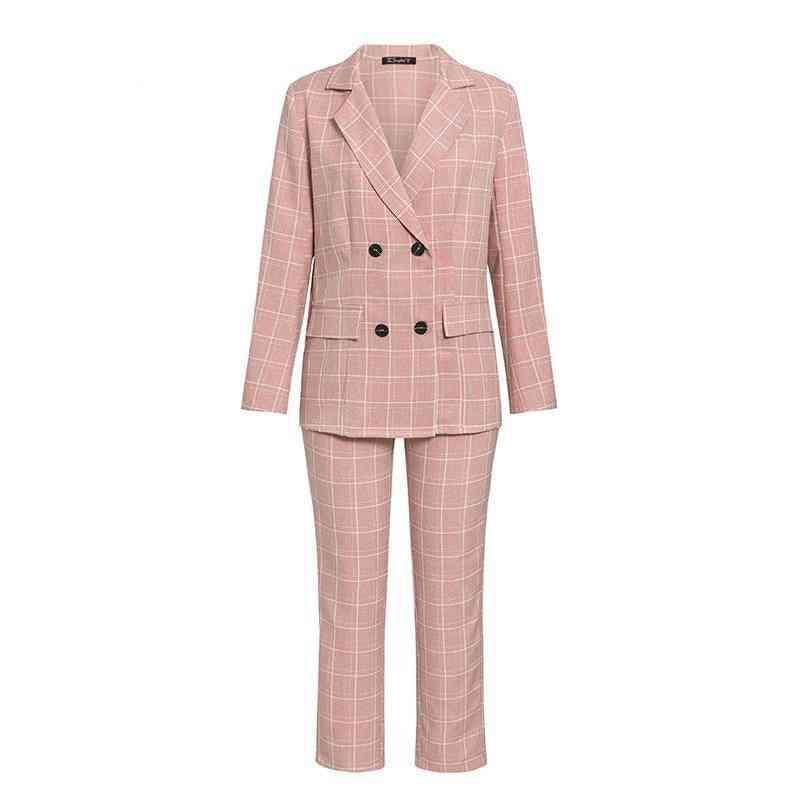 Fashion Plaid, Long-sleeve, Double-breasted, Blazer & Pants Set