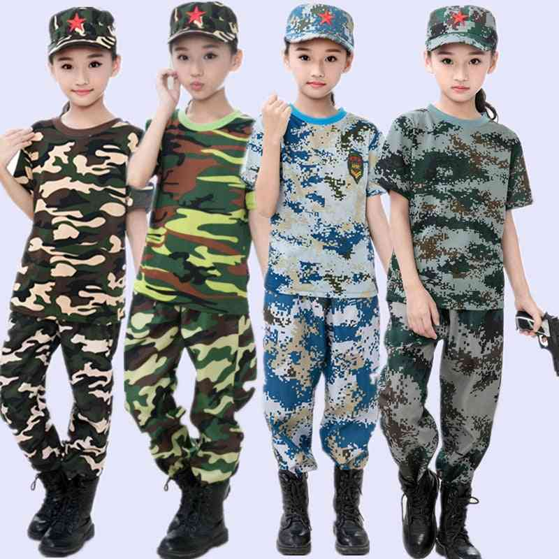 Kids Airsoft Military Tactical Uniform Sets, Teenager, Summer Camp, Camouflage Army Clothing