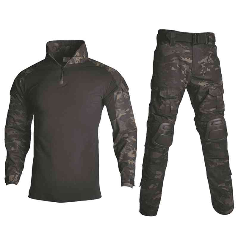Tactical Camouflage Military Uniform Men Suit, Army Clothes, Airsoft Military Combat Shirt + Cargo Pants, Knee Pads