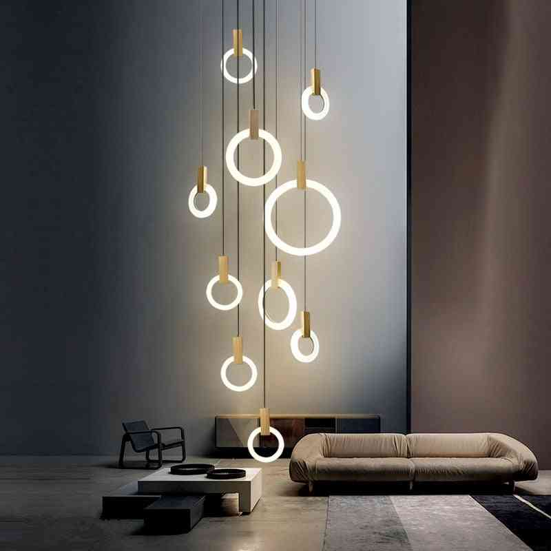Modern Led, Ceiling Wooden, Acrylic Ring & Fixtures Stairs, Hanging Pendant Lamps