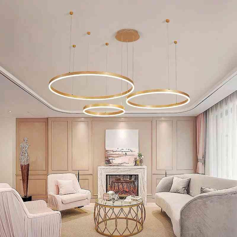 Postmodern Led, Circle Chandelier, Light Fixtures For Home
