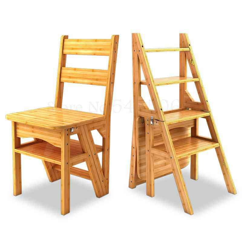 Solid Wood, Dual-use Stair Chair, Herringbone Four-level, Climbing Ladder